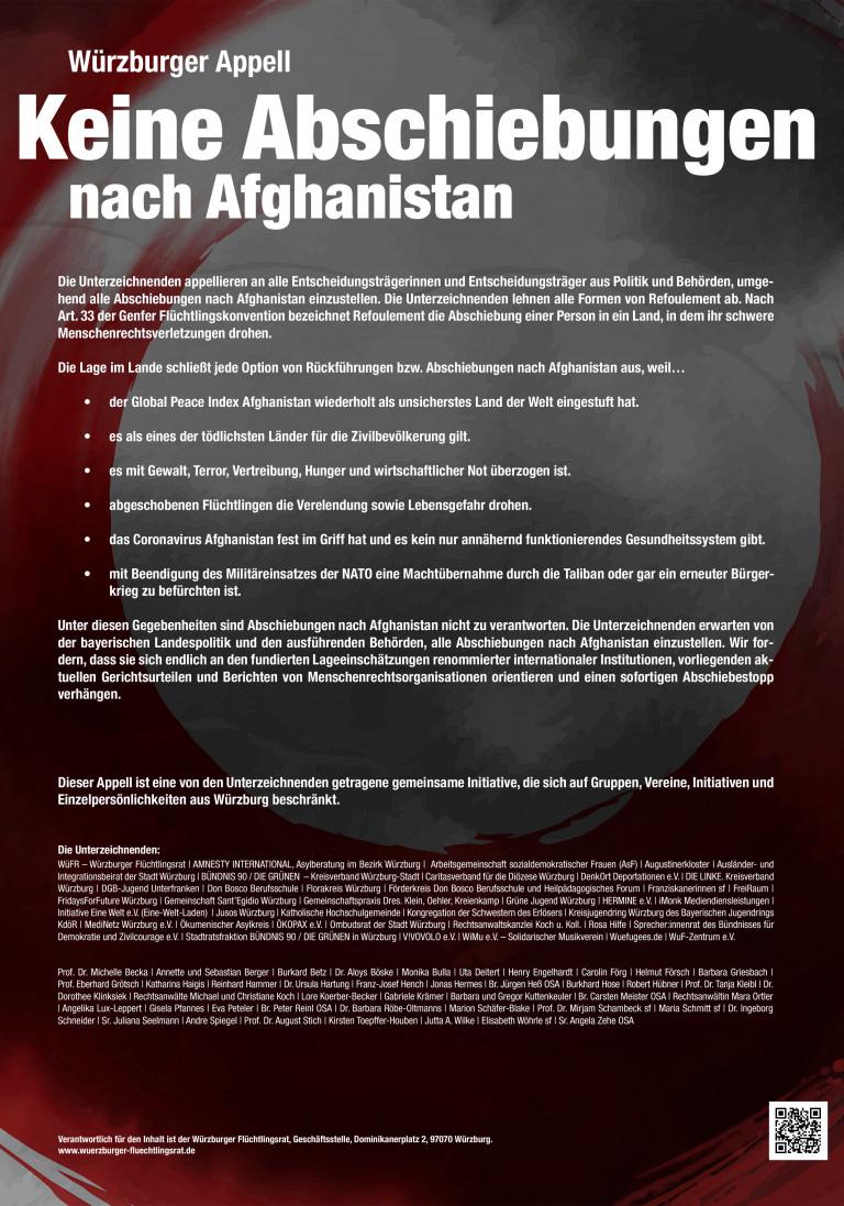 Würzburger Appell - Keine Abschiebungen nach Afghanistan